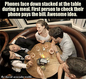 Phone face down on table