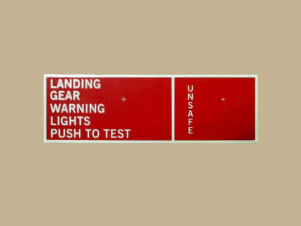 101 10138 PLACARD FOR THE LANDING GEAR LIGHT