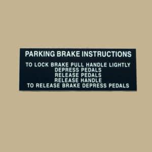 101 10137 PARKING BRAKE INSTRUCTIONS