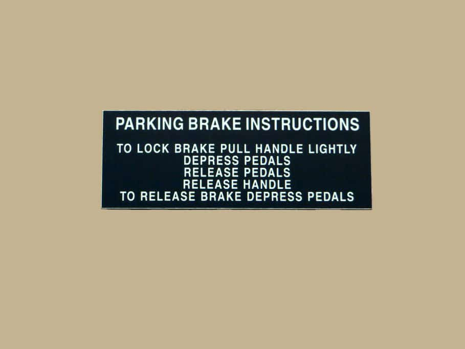 101 10137 PARKING BRAKE INSTRUCTIONS