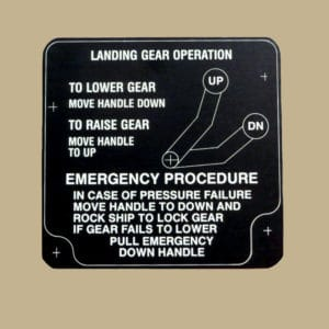 106 33580 LANDING GEAR OPERATION PLACARD