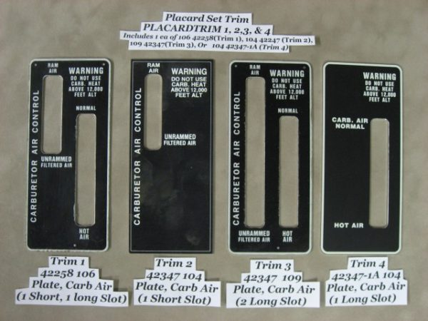 104 42347 CARB RAM AND FILTERED AIR PLACARD