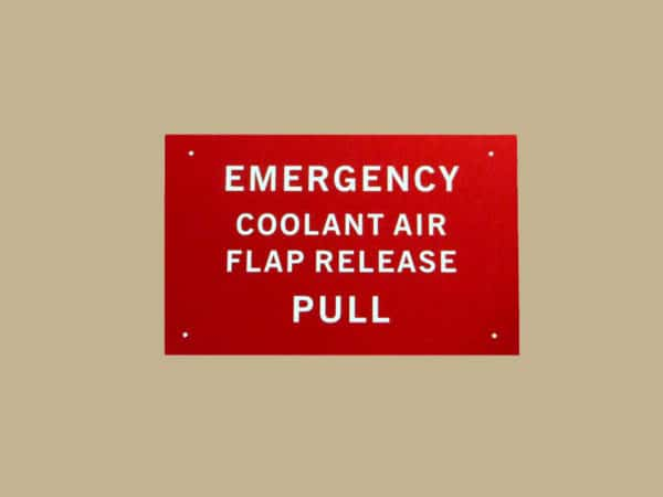 101 10132 EMERGENCY COOLANT DOOR PLACARD