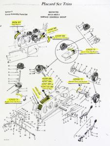 PLACARDTRIM 1,2,3,or 4 P-51 D TRIM AREA PLACARD SET