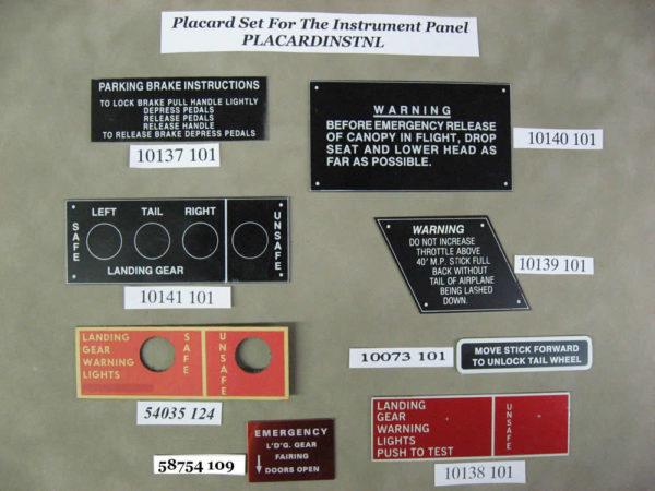 PLACARDINSTPNL P-51D INSTRUMENT PANEL PLACARD SET