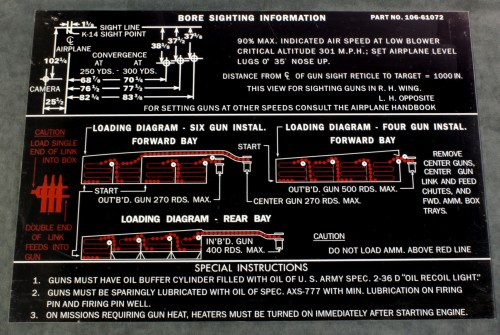 106 61072 P51-D WING GUN AMMO LOADING PLACARD
